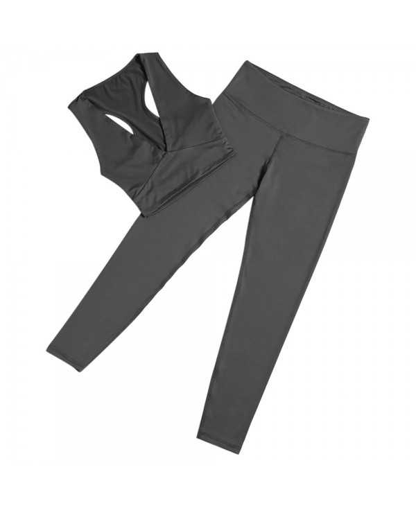Plunge Neck Crop Top High Waist Long Pant Elastic Solid Color Women Sports Suit