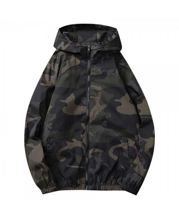 All Over Camo Printed Windbreaker Jacket