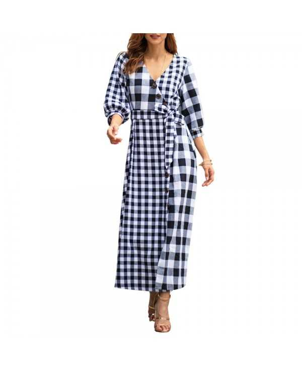 2019 Early Spring New Women'S Plaid Long-Sleeved Vintage Dress