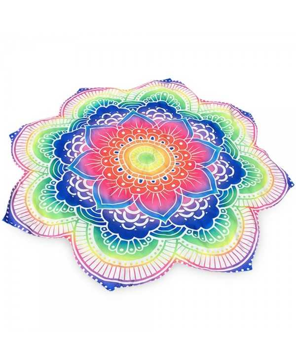 Summer Bright Flower Round Beach Throw
