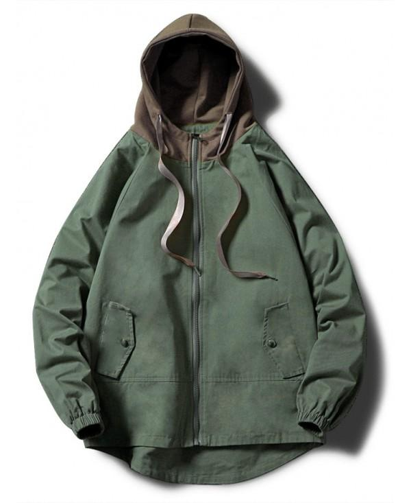 Contrast Zip Up Side Pockets Hooded Jacket