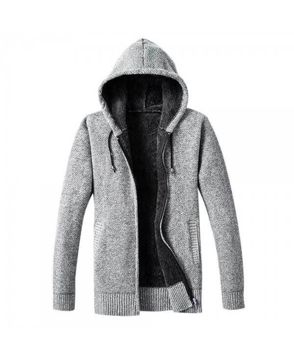 Hooded Collar Long Sleeve Zipper Fleece Sweater Men Hoodie