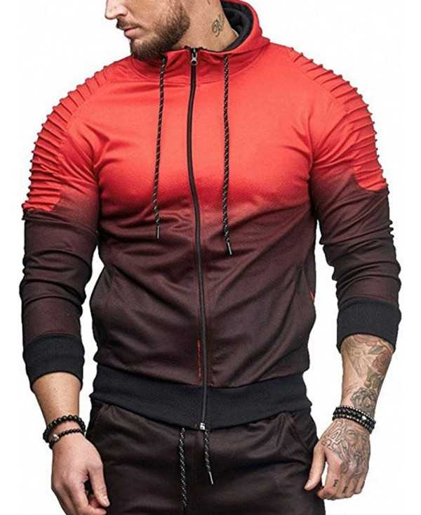 Sports Full Zipper Gradient Print Shoulder Pleated Hoodie