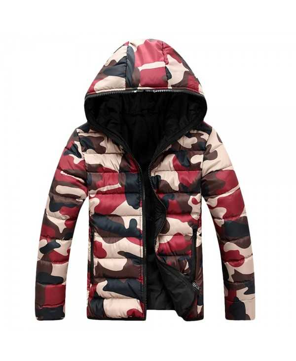 Hooded Collar Long Sleeve Camouflage Zipper Men Down Jacket