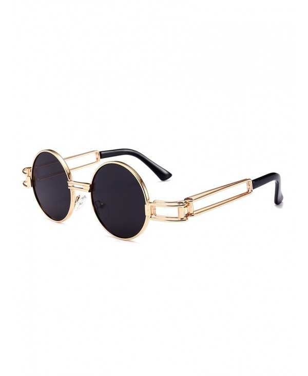 Punk Style Hollow Out Metal Frame Decorated Round Sunglasses