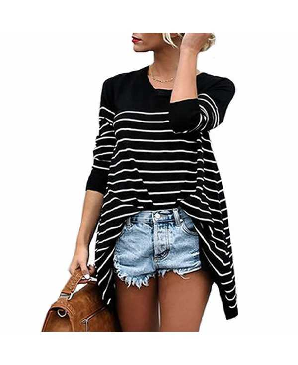 Stripe Stitching Long Sleeved Lady T-Shirt