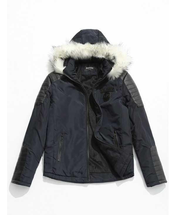Faux Fur Applique Hoodie PU Parka Coat
