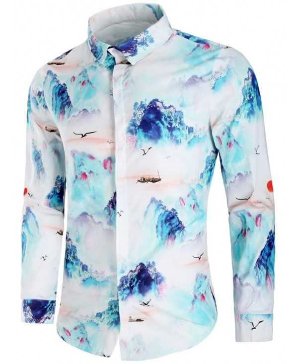 Chinese Art Scenery Painting Print Long Sleeves Shirt