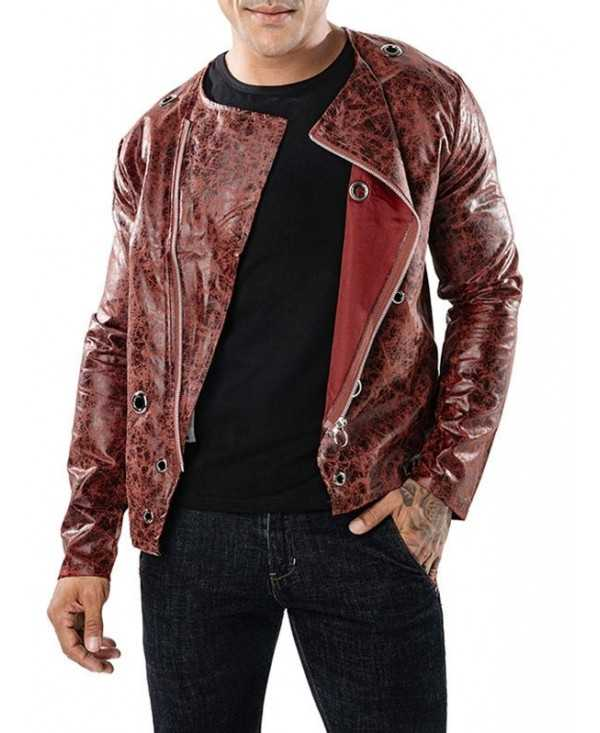 Circle Decor Side Zipper Up PU Leather Thin Jacket