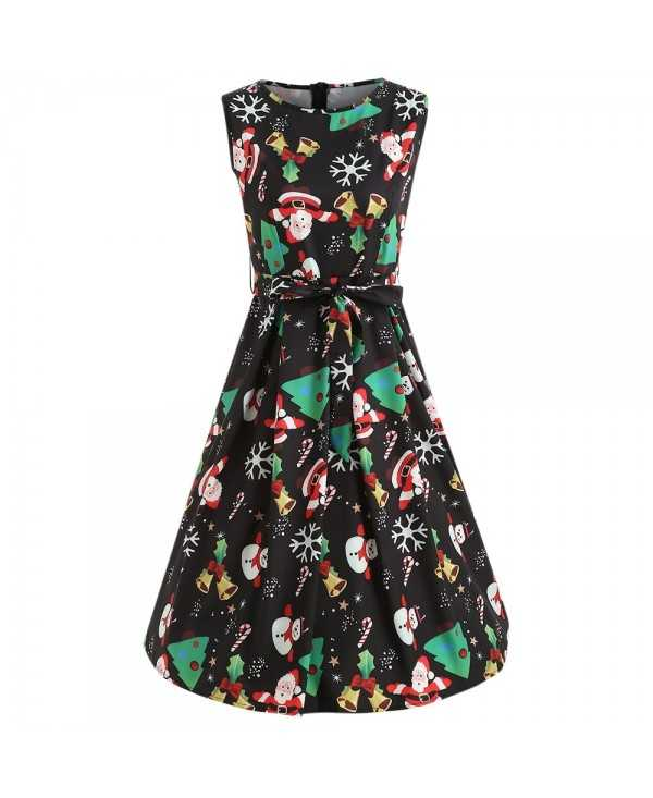 Women Christmas Print A-line Casual Sleveeless Party Swing Dress