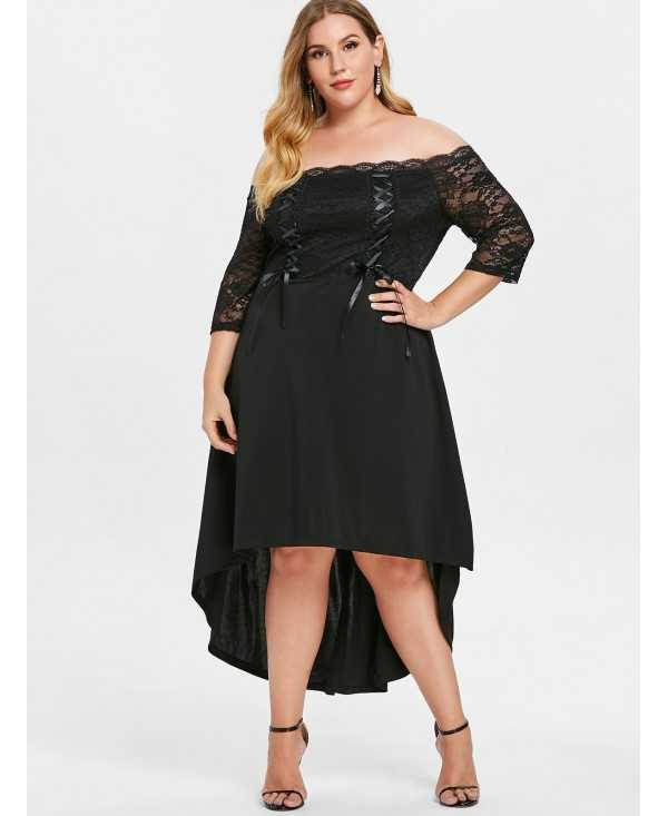 Plus Size Lace Up High Low Off Shoulder Dress - Black - 3R02326714