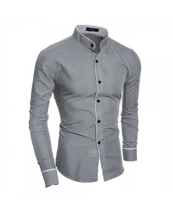 New Personality Striped Casual Collar Men's Slim Long-Sleeved Shirt
