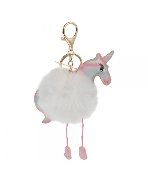 Cute Fluffy Rainbow Horse Keychain