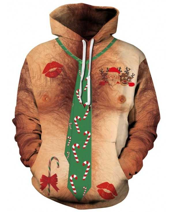 Faux Tie Candy Printed Christmas Hoodie