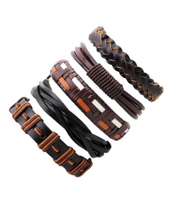 5 Pcs Handmade Leather Braided Bracelet