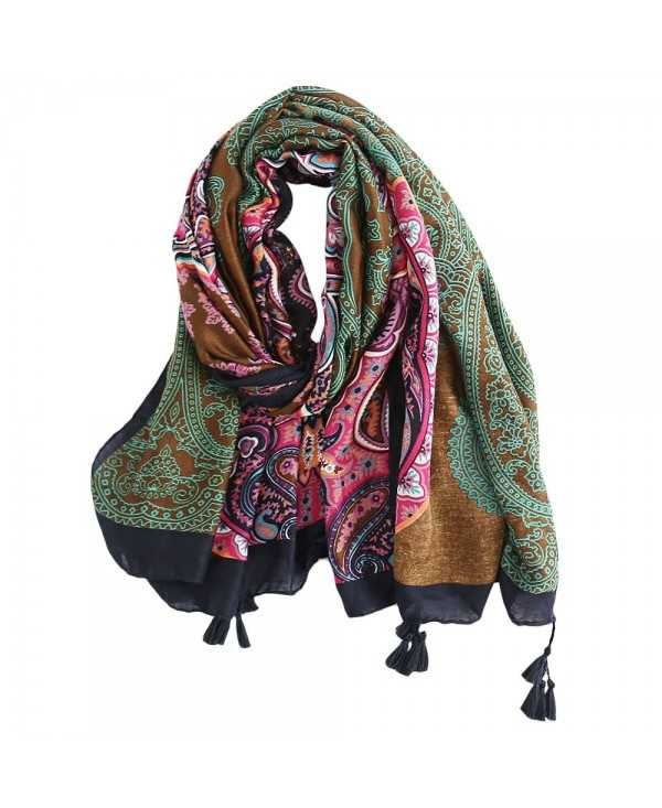 Stylish Floral Print Fringe Shawl Long Scarf Breathable for Women