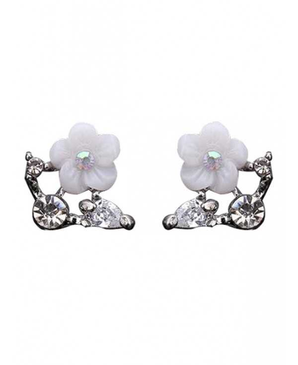 Rhinestone Shell Flower Stud Earrings