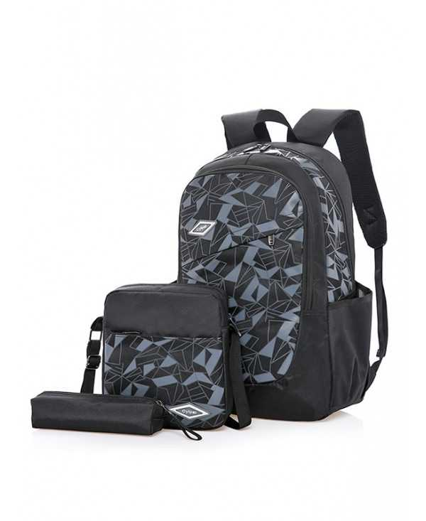 3 Pieces Geometric Pattern School Backpack Set
