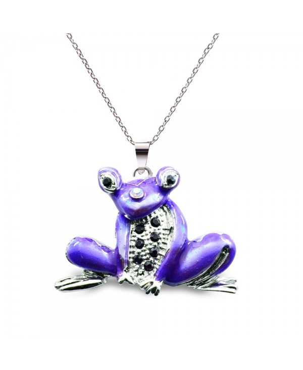 Sparkling Rhinestones Cute Frog Women Long Necklace