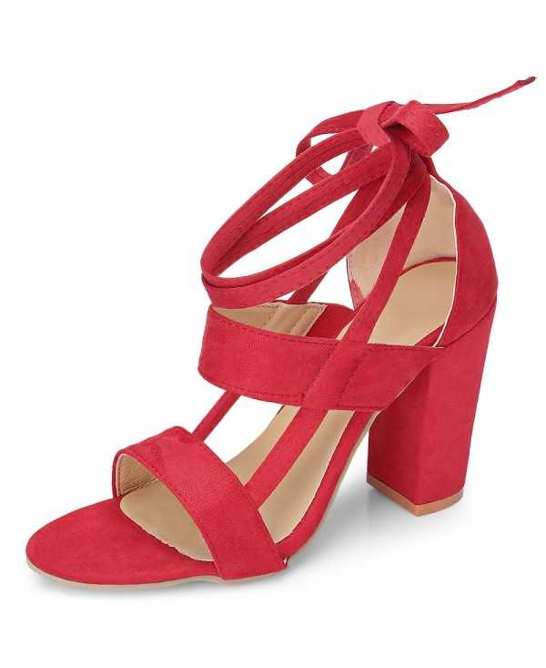 Open-toe Block Heel Angle Strap Lace-up Suede Women Sandals Date Club