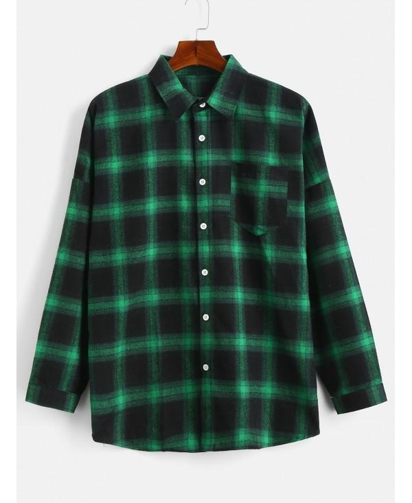 Drop Shoulder Sleeves Plaid Casual Shirt