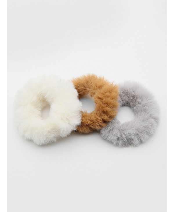3Pcs Stylish Faux Fur Elastic Hair Band