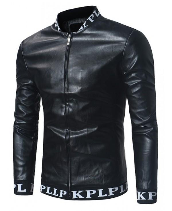 Graphic Ribbed Zip Up PU Leather Lame Jacket