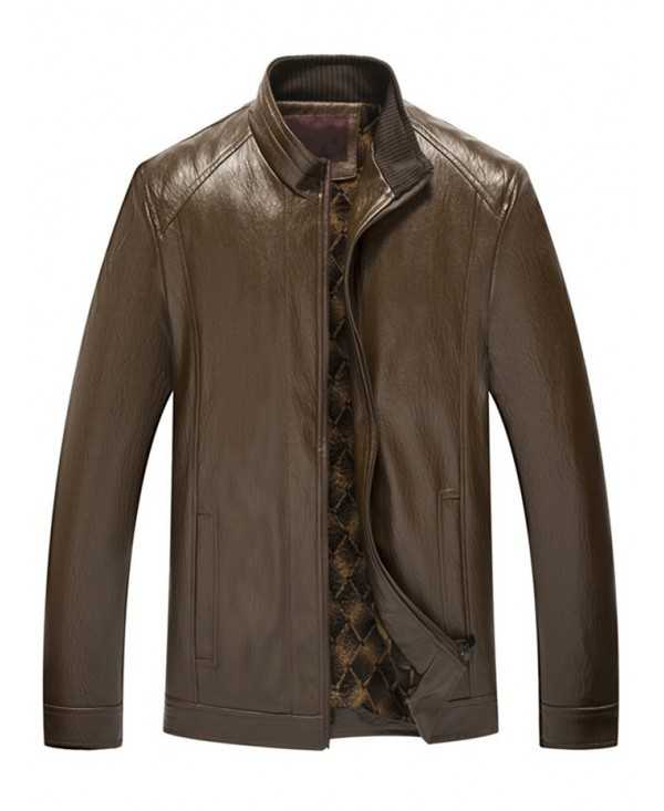 Stand Collar Zip Fly PU Leather Jacket