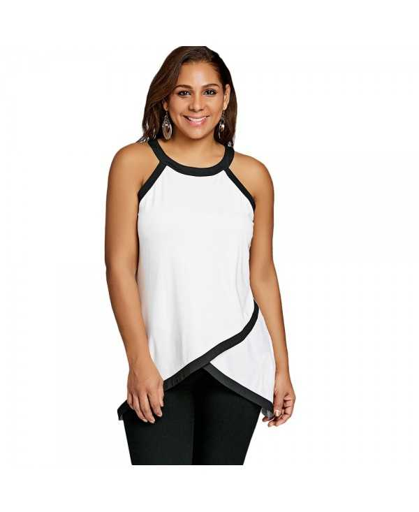 Plus Size Contrast Trim Overlap Tank Top