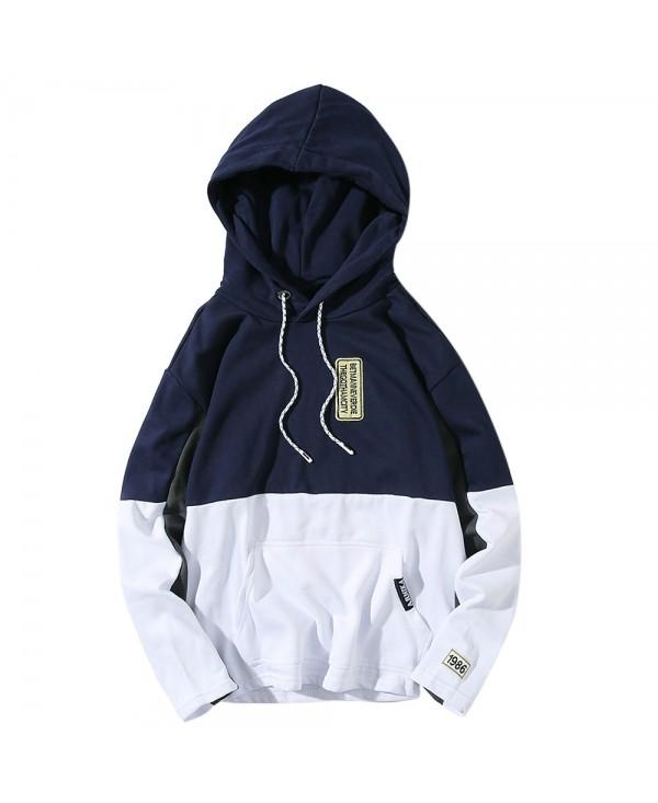 Hooded Color Block Embroidered Appliques Pullover Hoodie