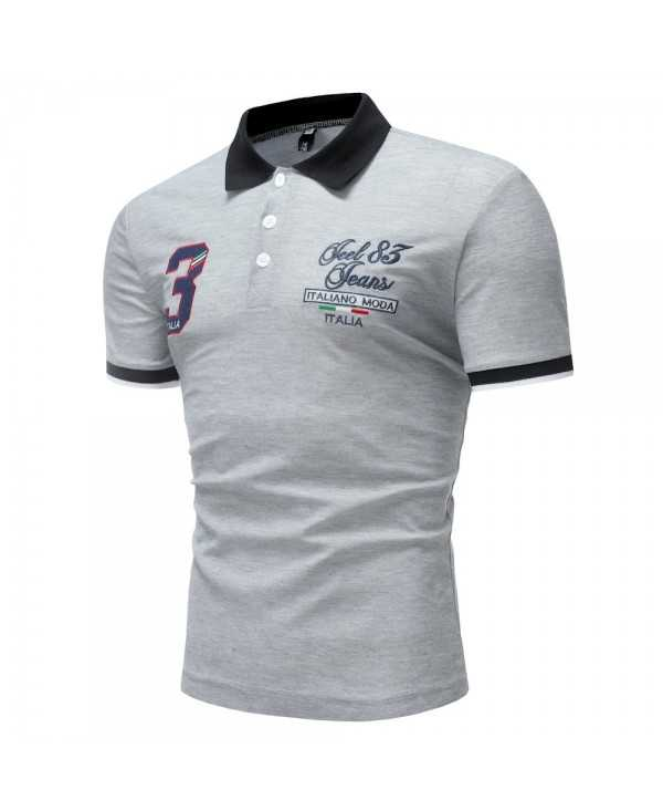 Men's Short Sleeve 3 Digital Embroidery Casual Short Sleeve Shirt