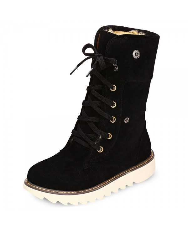 Female Winter Warm Suede Lace-up Skid-resistance Ankle Boots