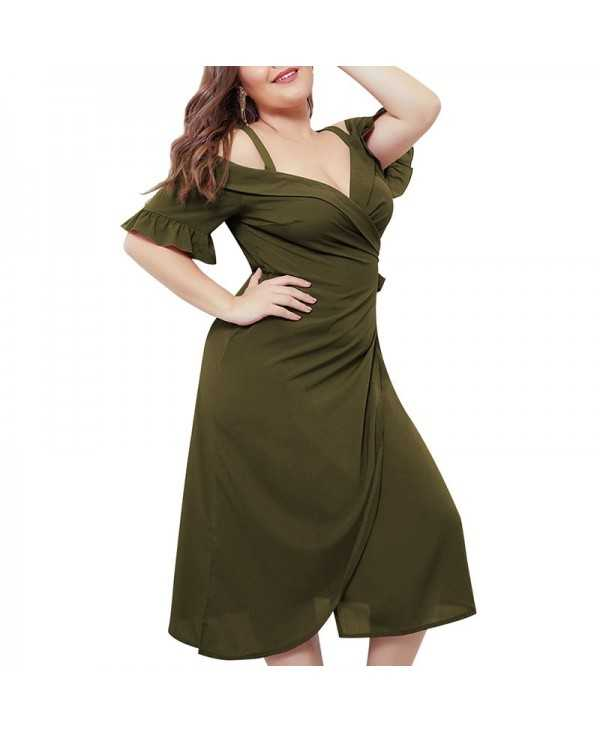 Solid Color Sexy Crossing V Collar Sling Dress