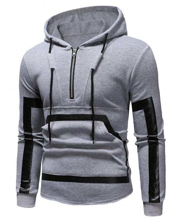 Kangaroo Pocket Zipper Panel Pullover Hoodie
