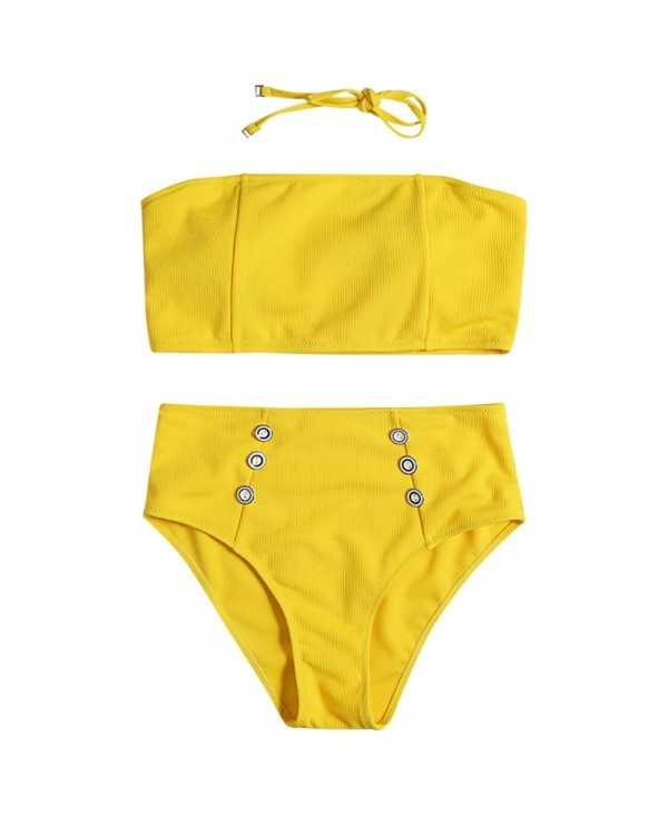 Strapless Halter Neck Backless Padded Solid Color Button High Waist Women Bikini Set