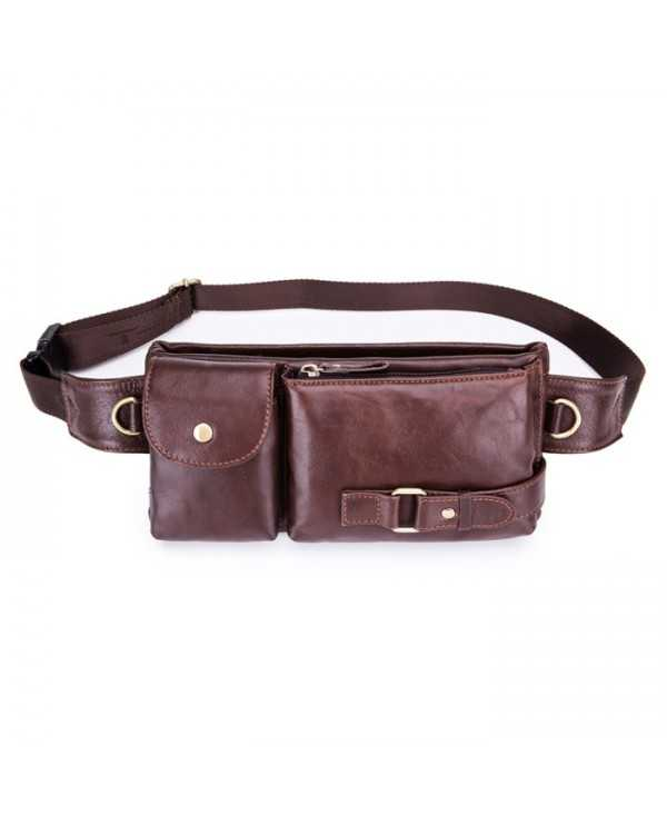 BULLCAPTAIN Leather Mini Cellphone Waist Bag