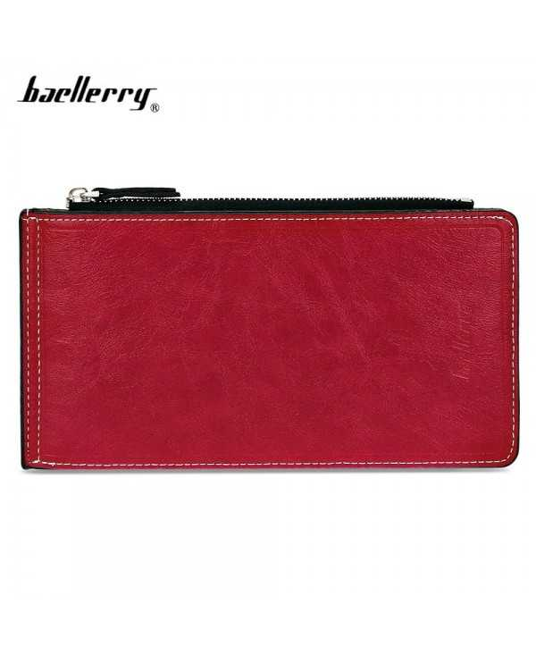 Baellerry Solid Color Zipper Hasp Design Vertical Thin Long Wallet for Men Women