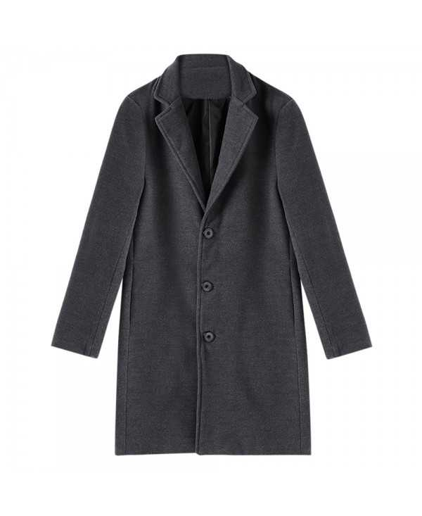 Casual Turn Down Collar Solid Long Woolen Outwear Coat for Men
