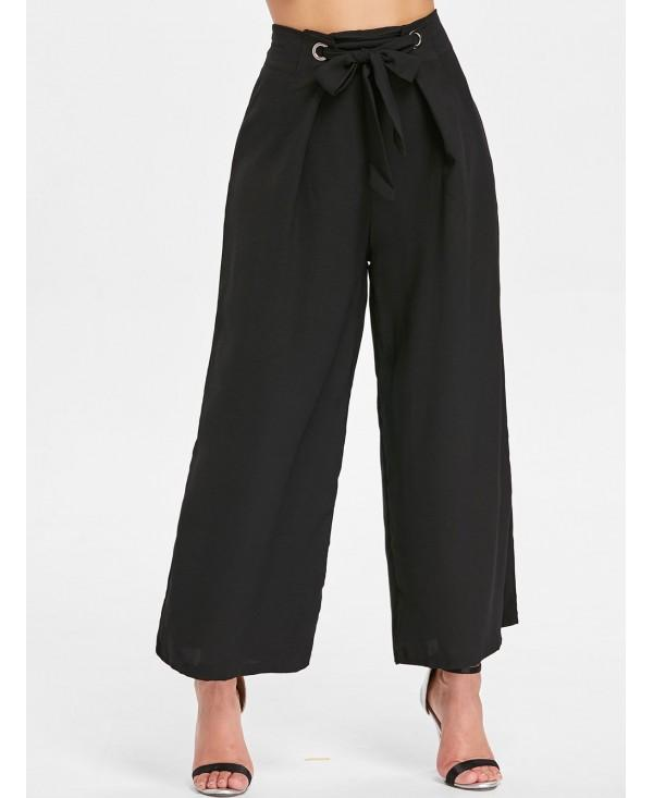 Zipper Waist Belted Wide Leg Pants