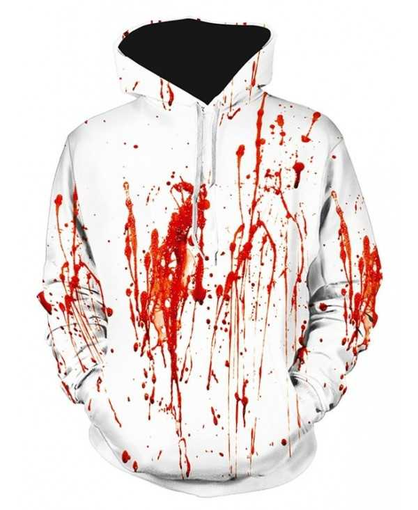 Blood Splatter Print Pouch Pocket Hoodie