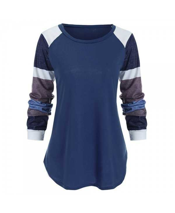 Casual Raglan Sleeve Color Block Top