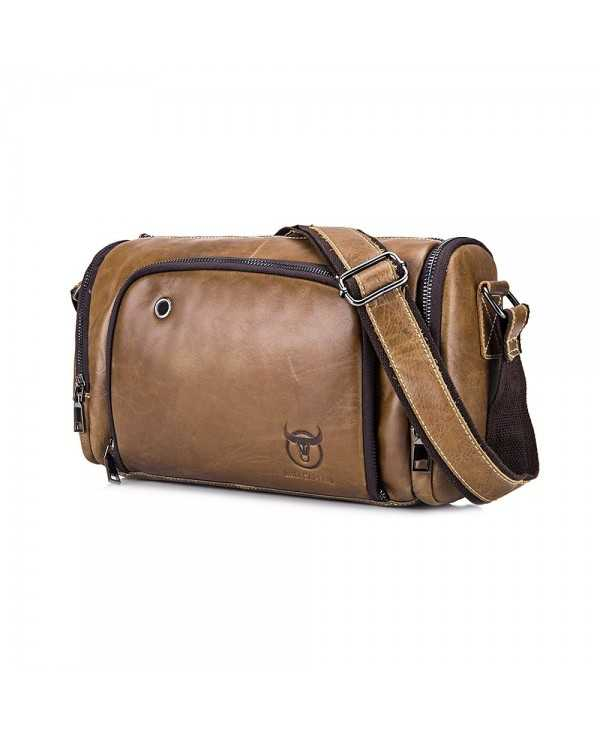 BULLCAPTAIN Leisure Genuine Leather Travel Shoulder Bag for Men