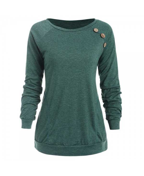 Buttons Embellished Long Sleeve T-shirt