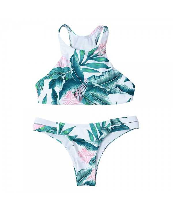 Tropical Print Lace-Up Racerback Bikini Set