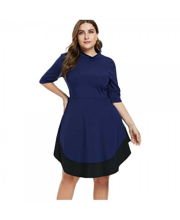 Plus Size Patchwork Casual Dress