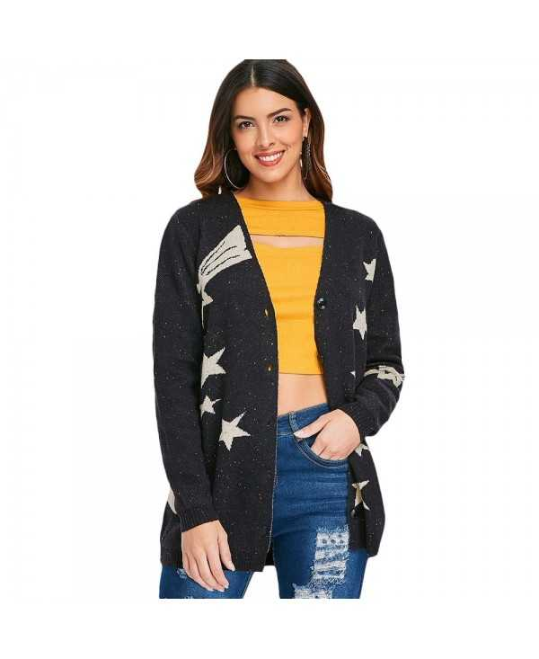 Low Cut Star Print Cardigan