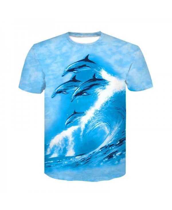 3D Dolphin Print Men's Casual Short Sleeve Graphic T-shirt