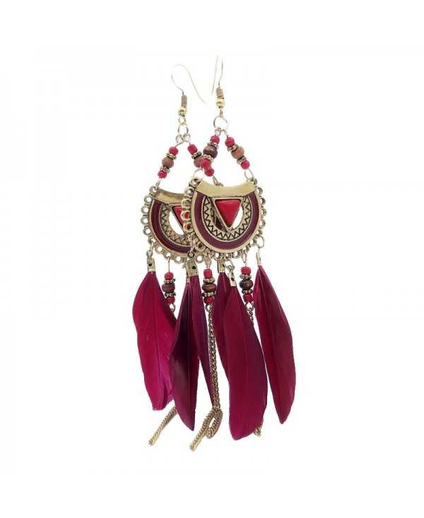 Retro Feathered Feather Earrings