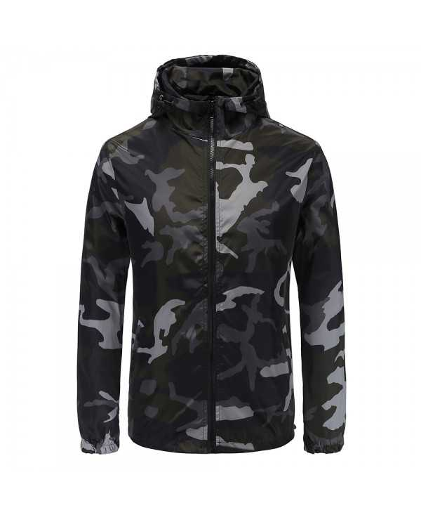 Long Sleeve Print Hooded Pocket Outdoor Polyester Men Jacket