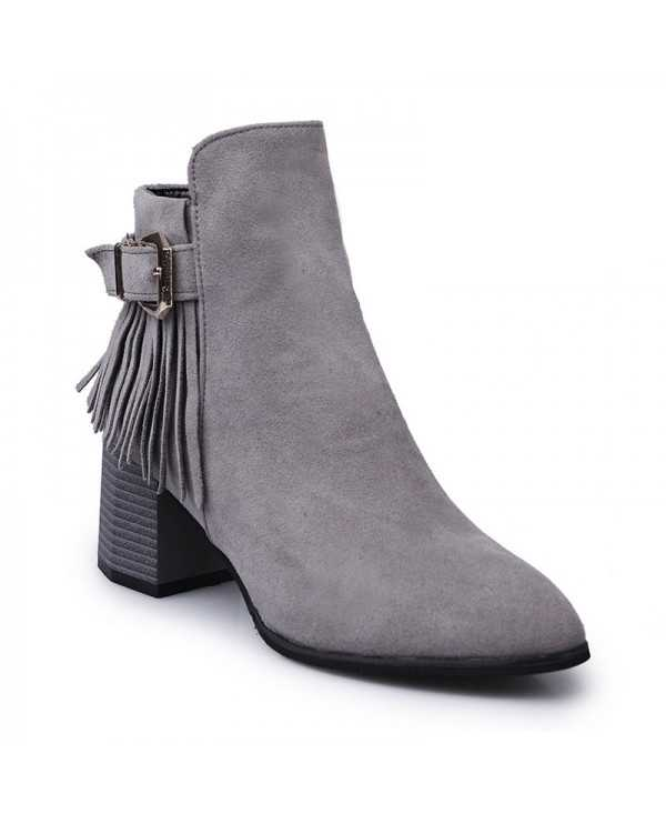 Ladies Winter Wind Tassels Bare Short Cylinder Boots
